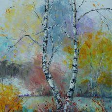 chantal szymoniak artiste peintre peinture bouleau nature foret couleurs arbre etang automne