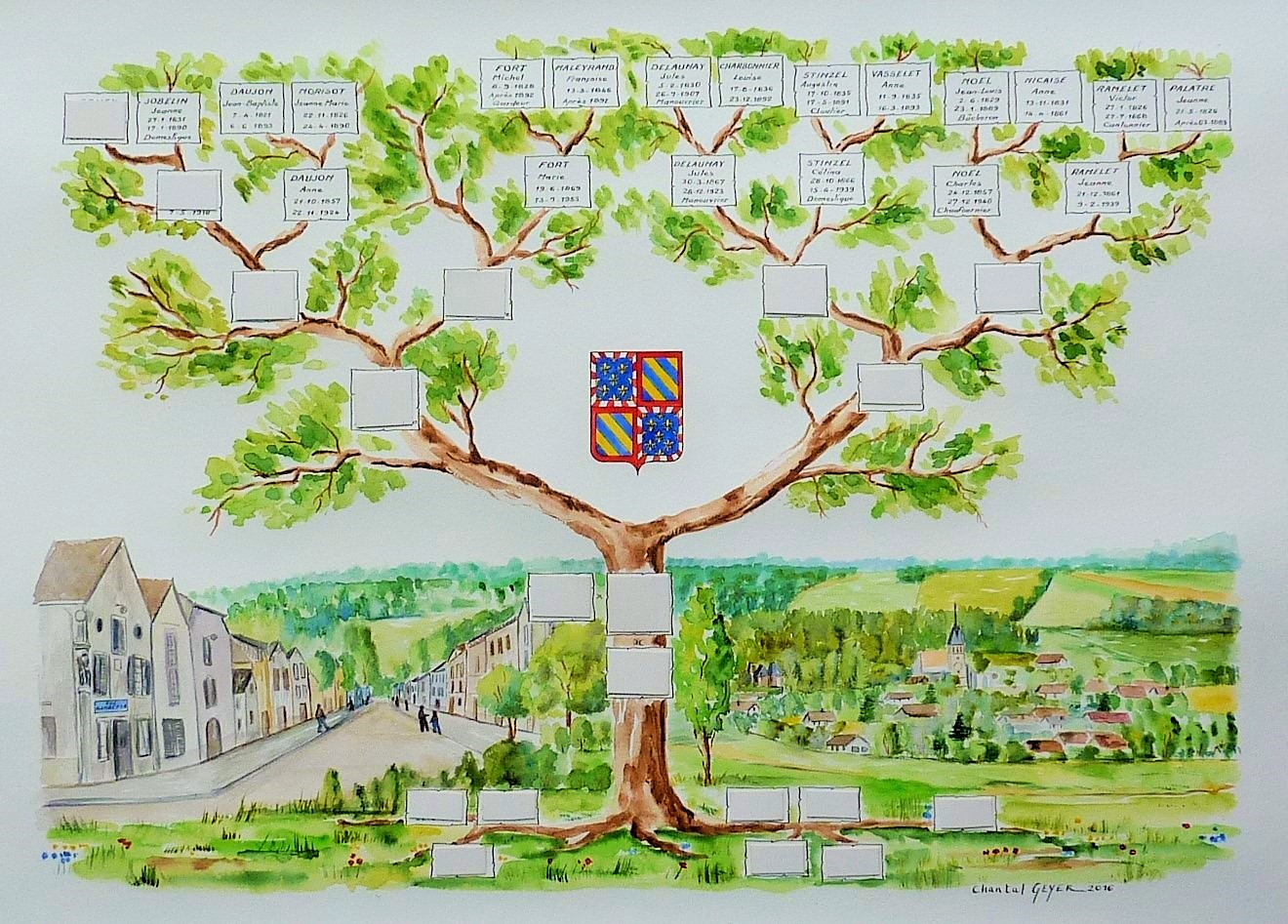 arbre genealogique descendance dessin darbre genealogique armoiries de bourgogne blason familial chantal szymoniak