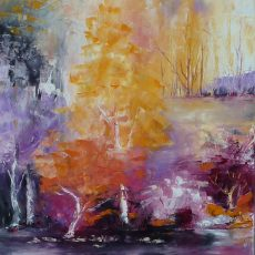 orange tableauarbre arbrefiguratif orangelight chantalszmoniak chantalgeyer wittisheim gallerieparis artistepeintre peintureaucouteau foretmulticolore