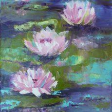 chantal geyer chantal szymoniak pureté nenuphar nympheas fleur de lotus peinture peinture impressionniste peinture de nenuphar peinture a l huile fleur rose