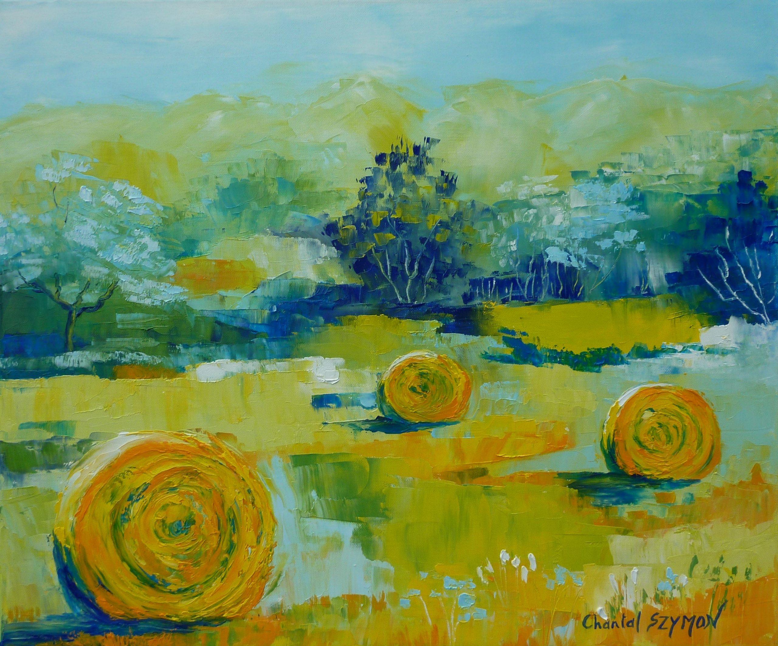 peinture campagne balle de foin campagne récolte artiste chantal szymoniak chantal geyer peinture moisson peinture a l huile paysage paysage de campagne