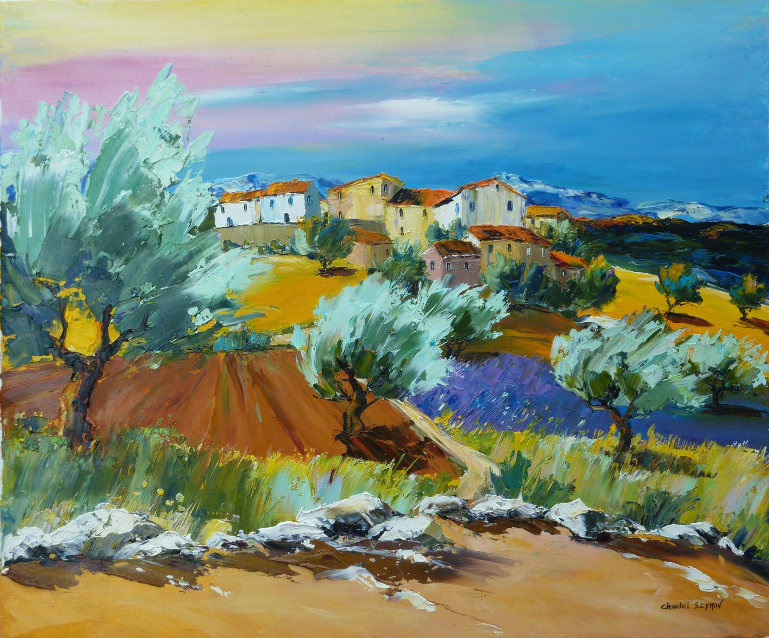 oliviers vent provence tableau de provence paysage de provence peinture de provence chantal szymoniak artiste peintre francais peinture au couteaue