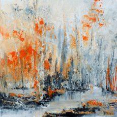 peinture contemporaine peinture au couteau crépuscule chantal szymoniak peinture abstraite peinture de foret noir et orange