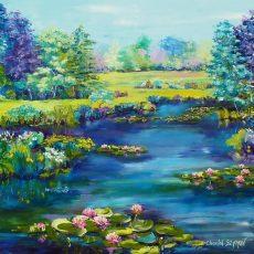 peinture a lhuile chantal szymoniak chantal geyer nénuphars peinture art figuratif peinture paysage peinture au couteau tableau bleu