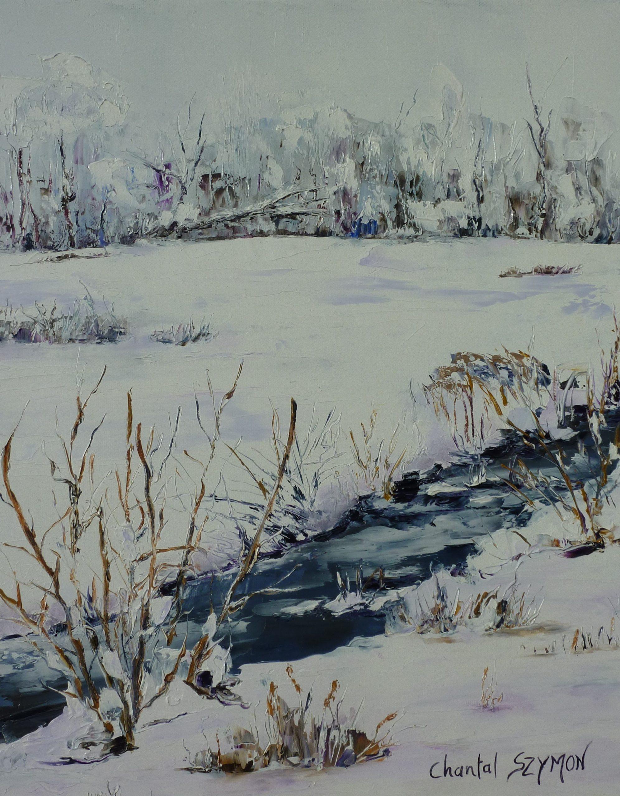paysage hiver peinture chantal szymoniak tableau paysage hiver neige ruisseau nature sous la neige peinture au couteau chantal geyer