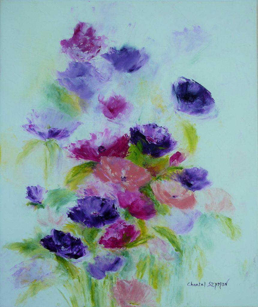 chantal szymoniak artiste peintre peinture a lhuile bouquet fleurs violettes evanescence transparence peinture au couteau tableau a lhuile tableau mauve violet