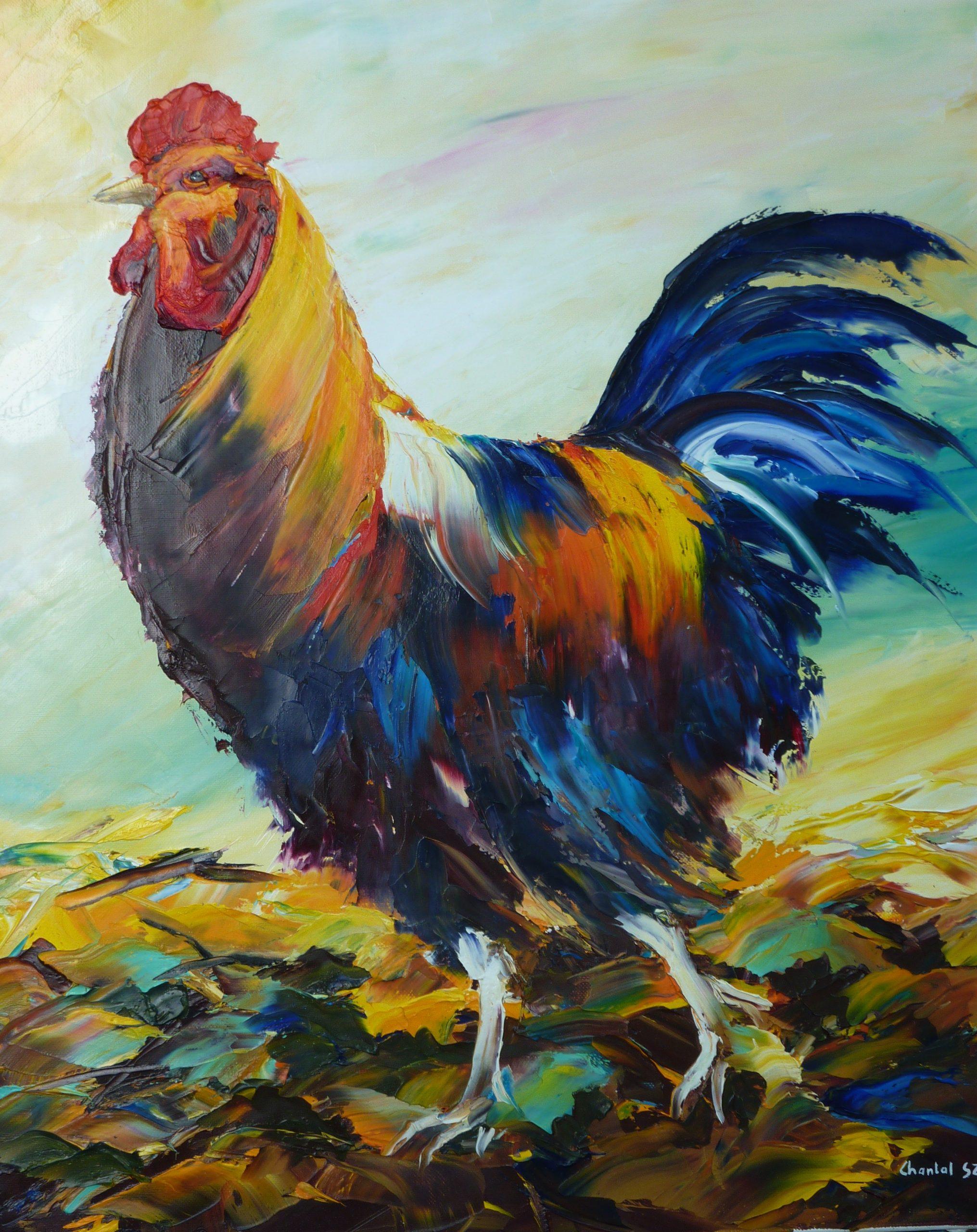 coq christian jequel chantal szymoniak peinture a lhuile bassecour poule fier huila au couteau coq en peinture