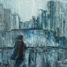 chantal szymoniak peinture peinture moderne gris ville abstrait personnage abstrait