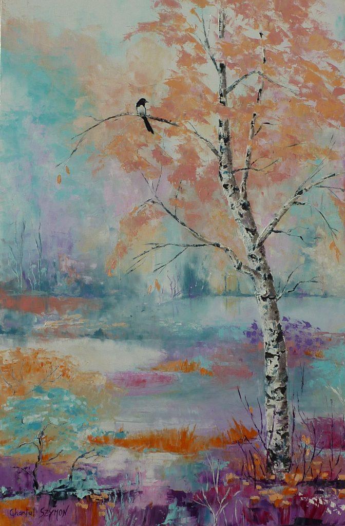chantal szymoniak chantal geyer artiste peintre peinture au couteau bouleau foret arbre pie oiseau paysage couleurs pastelles peinture a lhuile mimétisme pie