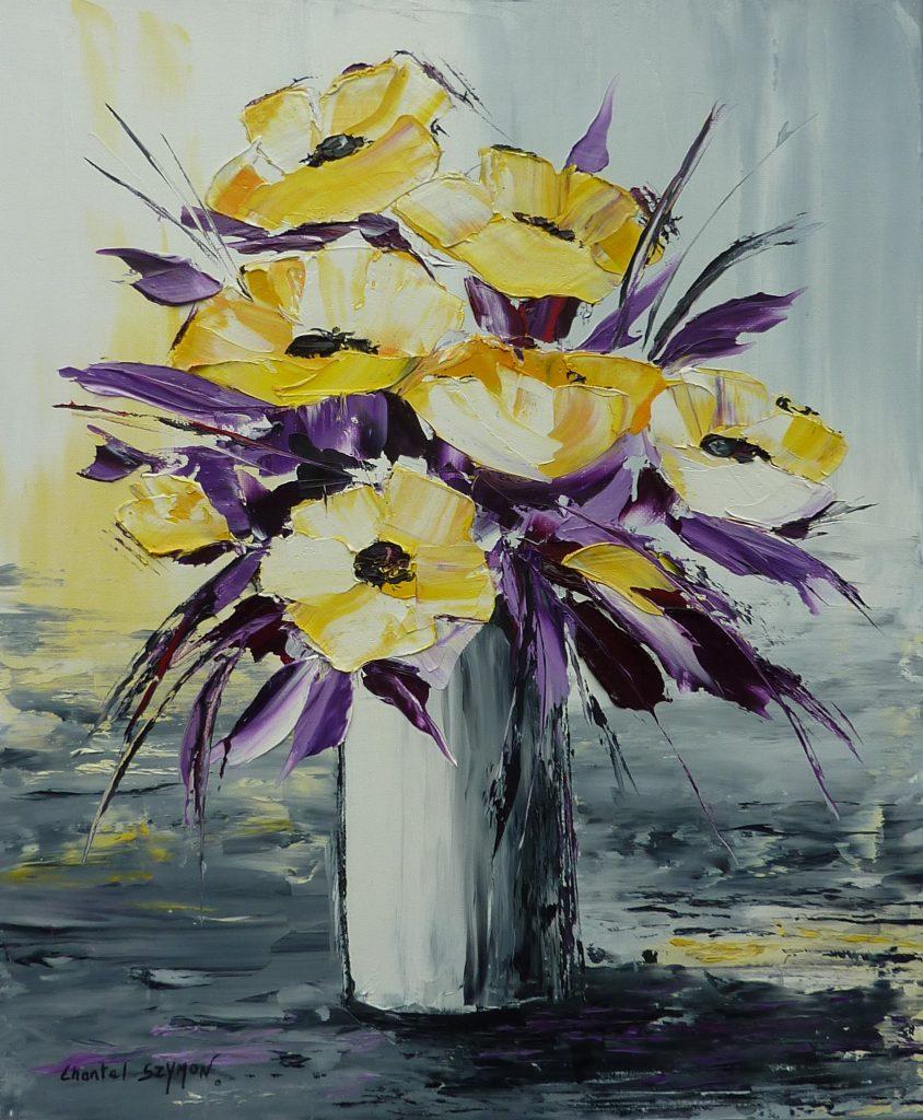 chantal szymoniak artiste peintre peinture a lhuile bouquet fleurs jaunes vase de fleurs peinture au couteau tableau a lhuile tableau gris jaune violet