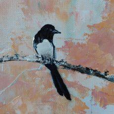 chantal Szymoniak peintures artiste peinture à l'huile au couteau pie peinture arbre bouleau poiseau