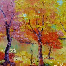 embrasement couleursvives peintureforet peinturealhuile arbrecolore chantalszymoniak chantalgeyer artistepeintre peintureaucouteau galleriedart bouleaux peinturecontemporaine