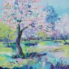 pommier japonais cerisier japonais arbre fleuri arbre rose painture arbre peinture perintemps chantal szymoniak artiste peintre peinture au couteau arbres paysage peint