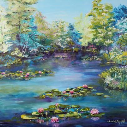 pureté peinture nénuphars peinture fleurs de lotus nymphéas peinture de nénuphars fleur sacrée chantal szymoniak paysage bleu artiste contemporain